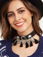 Romwe Black Gemstone Tassel Trim Choker Necklace