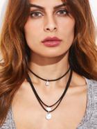Romwe Black Layered Coin Pendant Choker Necklace
