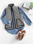 Romwe Patch Pocket Contrast Binding Vest