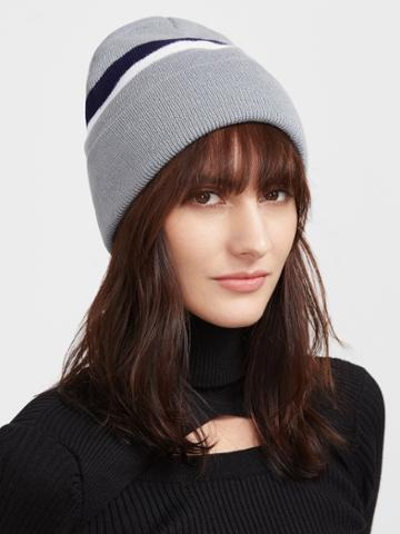 Romwe Grey Striped Ribbed Knit Beanie Hat