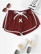 Romwe Lace Up Ringer Shorts