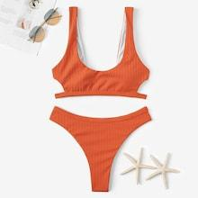 Romwe Cut-out Detail Top With Cheeky Bikini Set