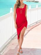 Romwe Red Ruched Asymmetric Tank Dress