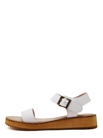 Romwe White Peep Toe Flatform Buckle Wedges