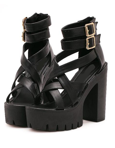 Romwe Black Ankle Strap High Heeled Sandals
