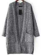 Romwe With Pockets Knit Grey Cardigan