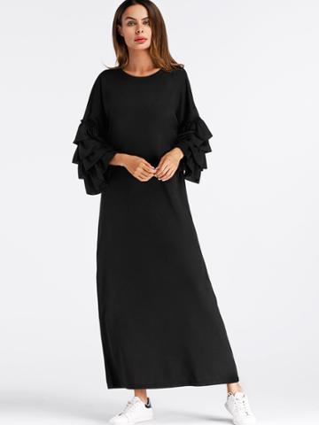 Romwe Tiered Frill Sleeve Long Hijab Dress