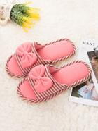 Romwe Bow Decor Striped Slippers