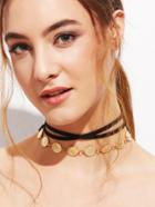Romwe Black Layered Vintage Carved Coin Choker Necklace