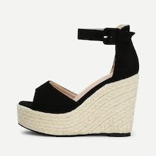 Romwe Ankle Strap Platform Woven Wedges