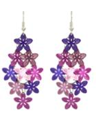 Romwe Purple Metal Flower Shape Fancy Earrings