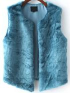 Romwe Faux Fur Blue Vest
