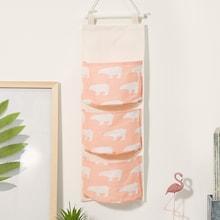 Romwe Polar Bear Print Hanging Storage Bag