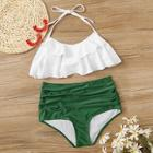 Romwe Tiered Layer Top With Ruched High Waist Bikini Set