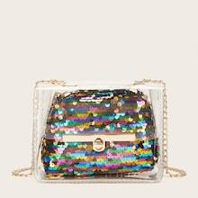Romwe Clear Bag With Sequins Inner Clutch