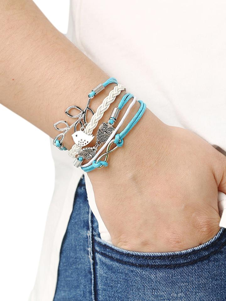 Romwe Braided Leather Bracelet With Leave And Owl