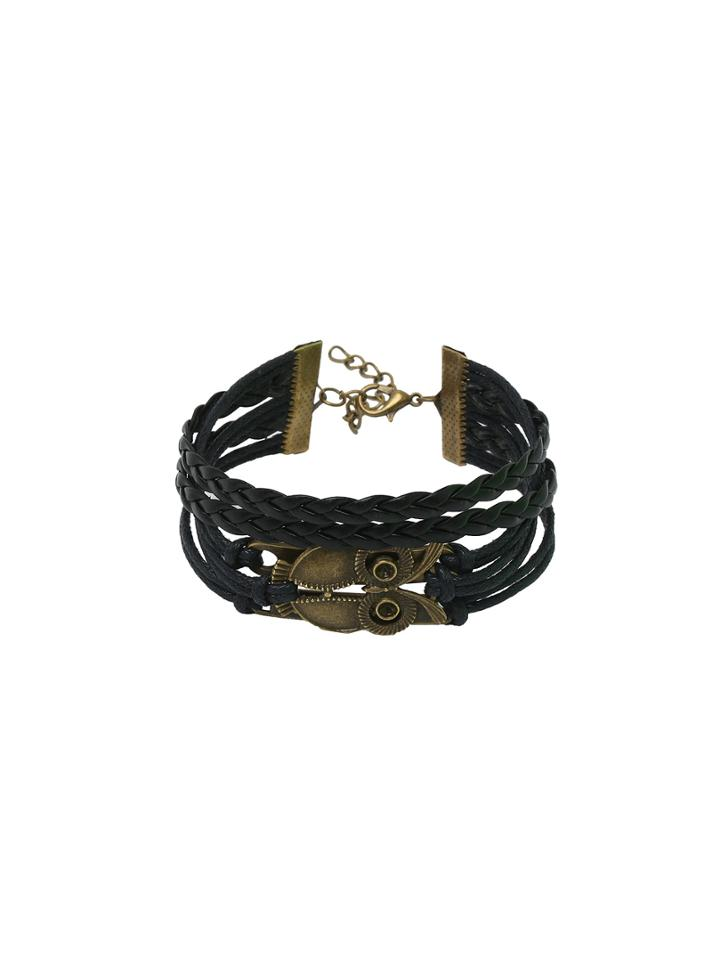 Romwe Owl Charm Black Braided Layered Bracelet