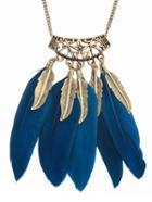Romwe Vintage Leaf Feather Shape Pendant Necklace