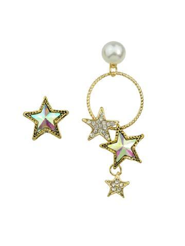 Romwe Asymmetrical Circle Star Earrings Hanging Earring