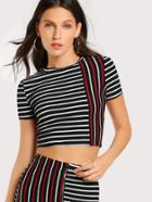 Romwe Mixed Striped Crop Top