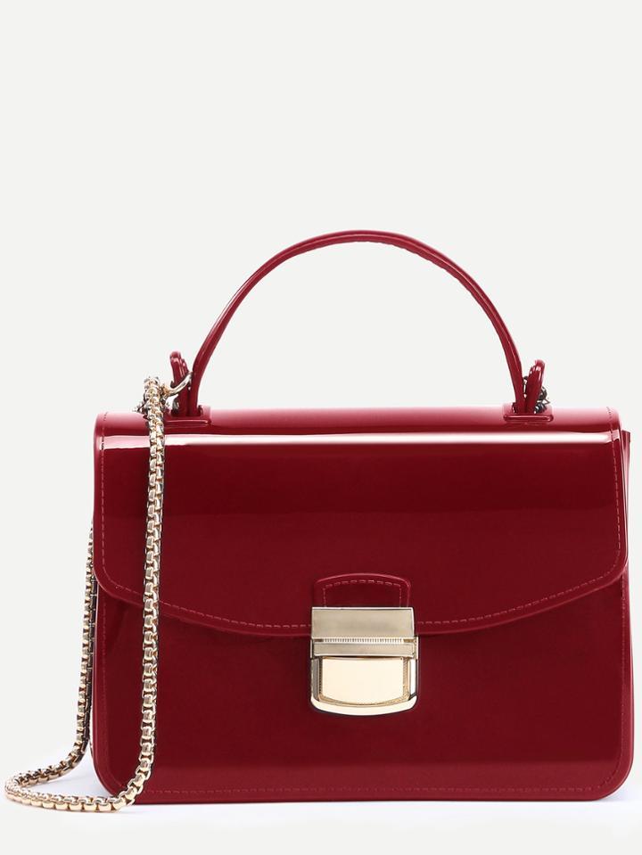 Romwe Red Pushlock Closure Plastic Handbag With Chain