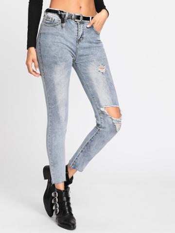 Romwe Knee Rips Bleach Wash Jeans