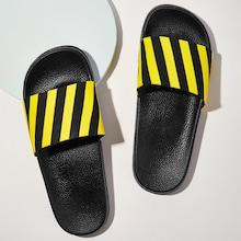 Romwe Guys Striped Pattern Flat Slippers