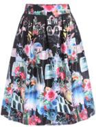 Romwe Elastic Waist Florals Black Skirt