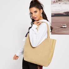 Romwe Faux Fur Detail Tote Bag