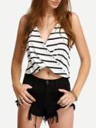 Romwe Striped Halter Drape Front Cami Top