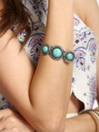 Romwe Turquoise Inlaid Ethnic Bracelet
