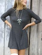 Romwe Women Grey Quarter Sleeve Striped Tshirt Dress