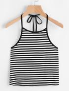 Romwe Halter Neck Contrast Striped Knit Top