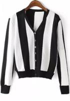 Romwe Vertical Striped Buttons Cardigan