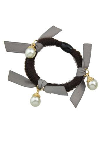 Romwe Gray Color Pearl Elastic Hair Rope Scrunchie