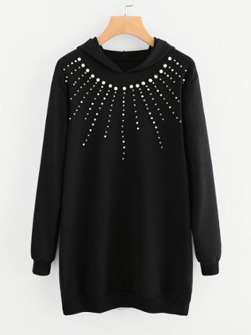 Romwe Pearl Beaded Hooded Sweatshirt Dress