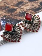 Romwe Rhinestone Swing Stud Earrings