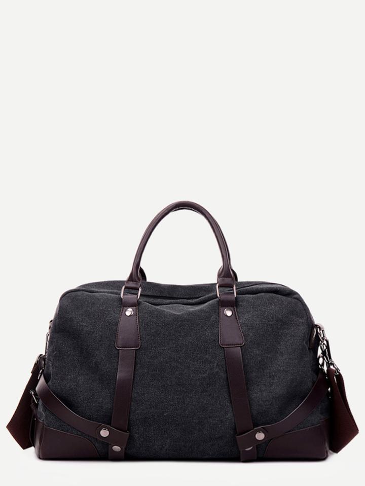 Romwe Black Pu Trim Canvas Handbag With Strap