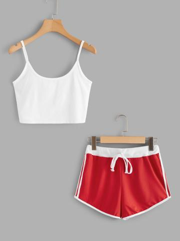 Romwe Scoop Neck Cami With Striped Side Shorts