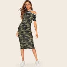 Romwe Asymmetrical Shoulder Letter Tape Camo Dress