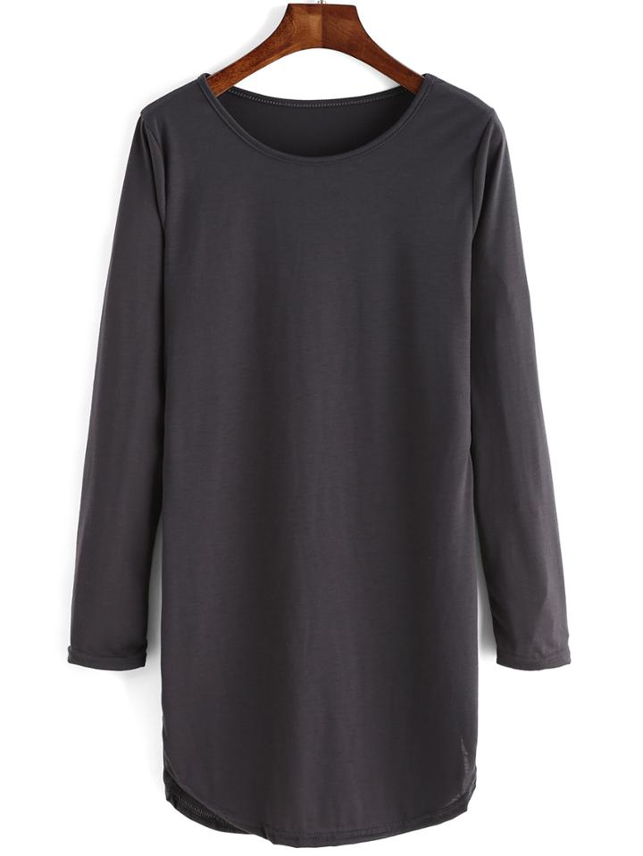 Romwe Long Sleeve Casual Tshirt Dress