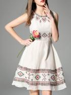 Romwe Apricot Crew Neck Embroidered A-line Dress