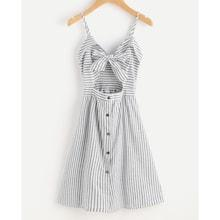 Romwe Bow Tie Peekaboo Foldover Stripe Cami Dress
