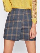 Romwe Checked Overlap Skirt