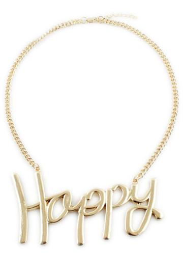 Romwe Romwe Happy Pendant Necklace