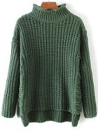 Romwe Green Ripped Turtleneck Dip Hem Sweater