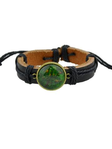 Romwe Green Hiphop Jewelry Rock Style Pu Leather Bracelets
