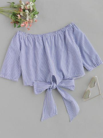 Romwe Off Shoulder Vertical Striped Knot Front Top