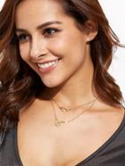Romwe Gold Plated Double Layer Geometric Pendant Necklace