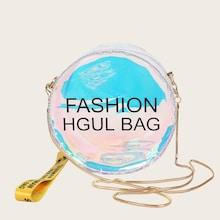 Romwe Letter Print Round Shaped Chain Bag